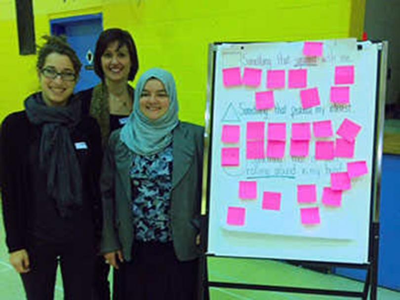 Teachers Joelle Rudick, Della Bonsor, and Lila Hammouda at the Weekend Educators Professional Development Day.