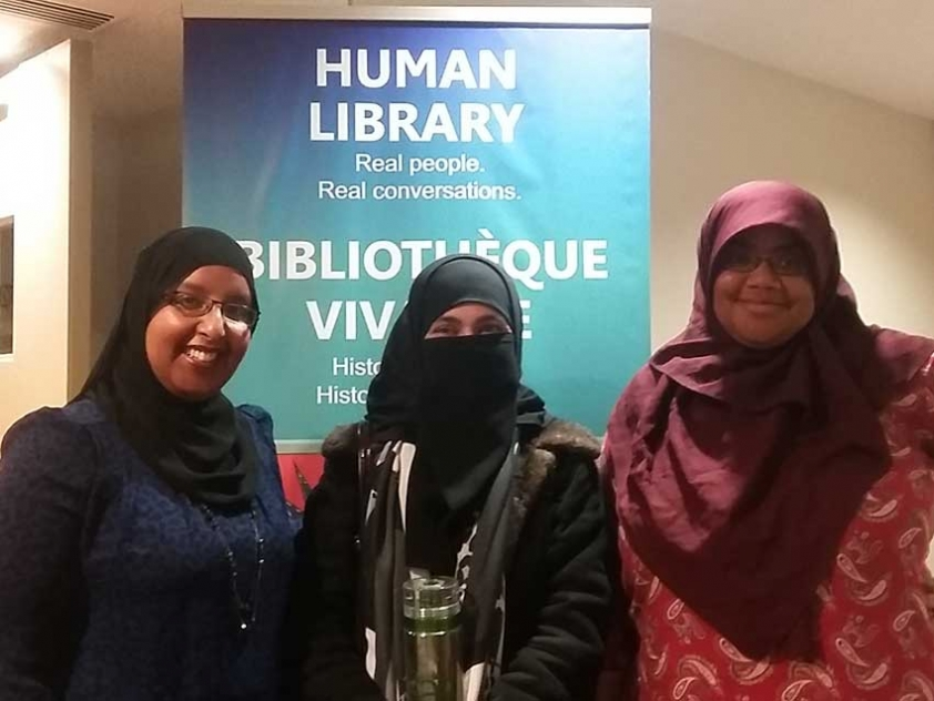 """Ottawa Muslims are participating in CBC and the Ottawa Public Library's annual Human Library. Hiba Yusuf, Mahwash Fatima, and Chelby Daigle will be """"books"""" this year."""