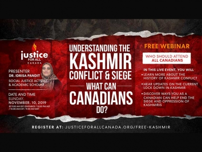 Understanding the Kashmir Conflict and Siege : What Can Canadians Do? Webinar with Kashmiri Canadian Idrisa Pandit November 10