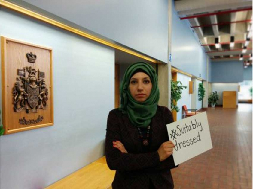 "Amna Qureshi posted this photo on Twitter in protest of Montrealer Rania El-Alloul being told by Judge Eliana Marengo that she had to remove her hijab in order to be ""suitably dressed"" in a ""secular"" Canadian courtroom."