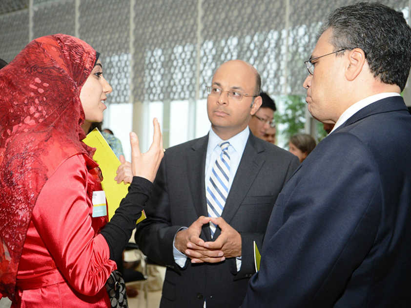 Hoda Mroue with Mr. Khalil Z. Shariff, Chief Executive Officer at AKFC (center) and Mr. Mohamed Fakhry Minister Plenipotentiary & Deputy Head of Mission for Egypt (right) at the Aga Khan Foundation Canada's 25th Anniversary Celebration of the International Youth Fellowship Program.