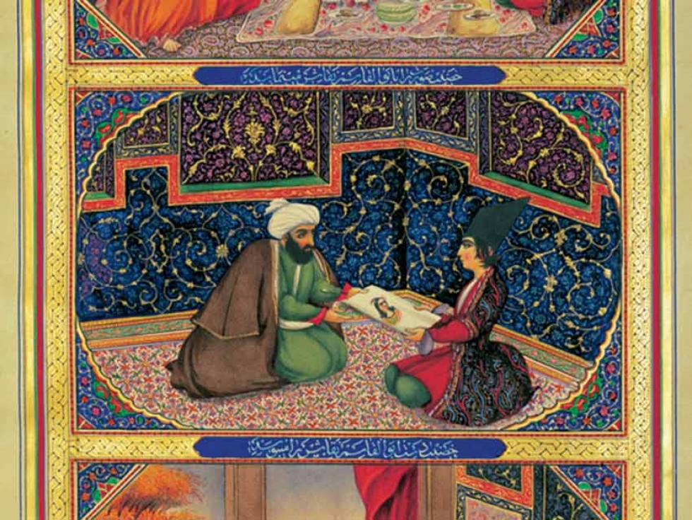 Scheherazade and the sultan by the Iranian painter Sani ol molk (1849-1856) in One Thousand and One Nights.