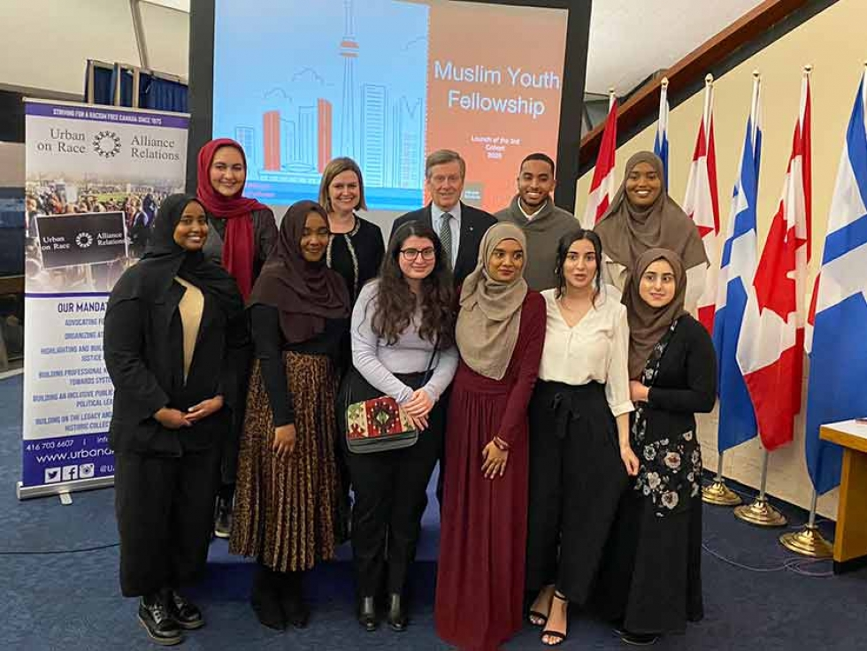 Members of the Muslim Youth Fellowship 2020 Cohort at Toronto City Hall on March 3, 2020.