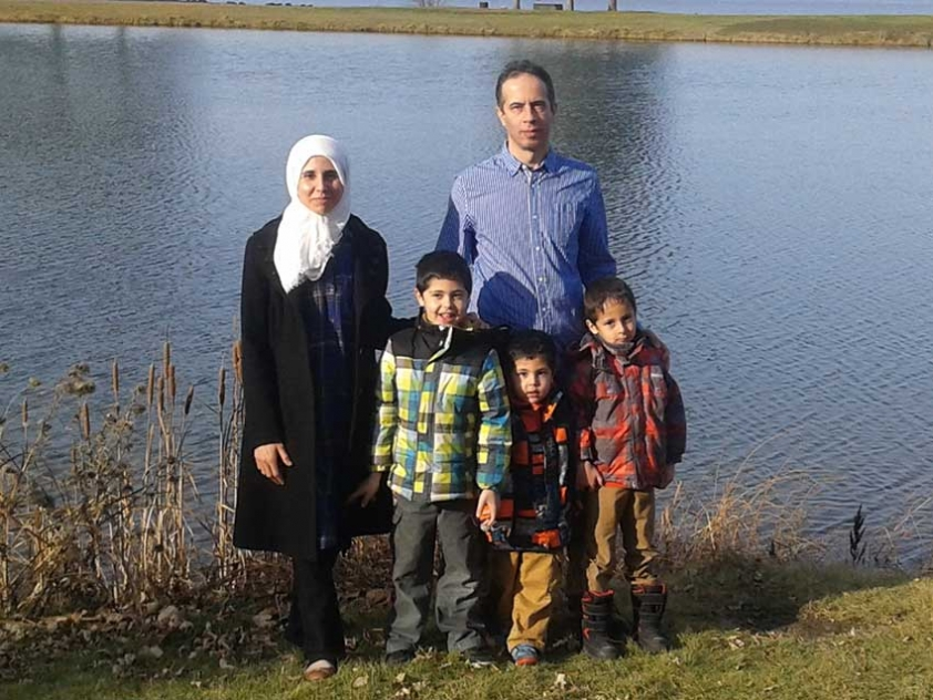 Dima Siam, her husband Mohammed Al Rayyan, and their children.