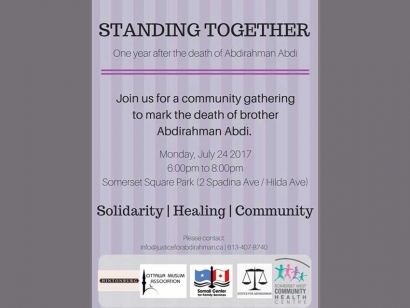 On July 24th Community Members Will Gather to Remember Abdirahman Abdi, One Year After His Tragic Death