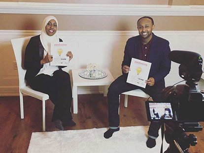 Sharmaarke Abdullahi and Ifraah Hassan shooting the 5th Annual Awakening Conference promo video.