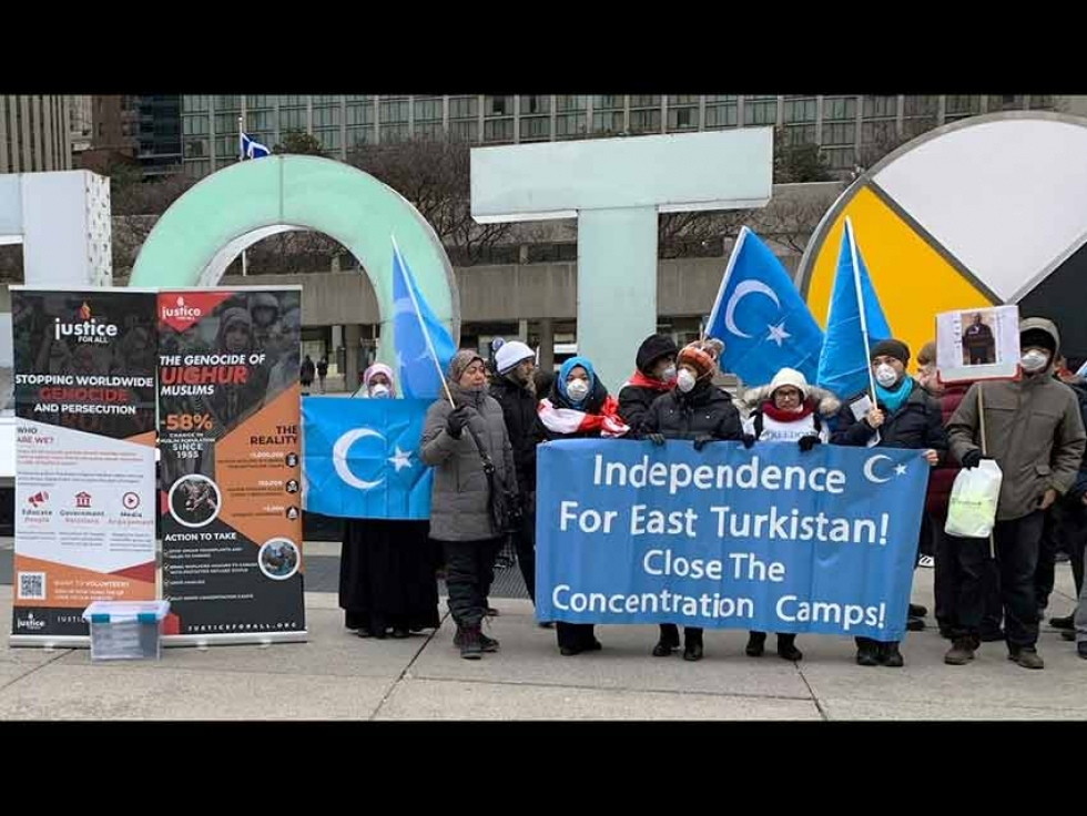 Justice for All Canada supporting a demonstration by Uyghur Canadians in 2020.
