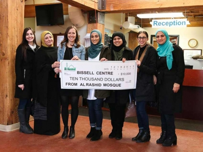 Members of Edmonton's Al Rashid Youth Club, based in North America's oldest mosque, raised $10,000 for the Bissell Centre's annual New Year's Day Dinner.