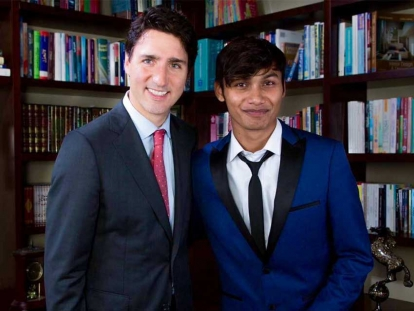 Rohingya refugee Ahmed Hashim Ullah meeting Prime Minister Justin Trudeau.