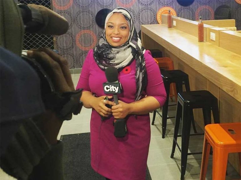 On November 18 2016, Ginella Massa was asked to sit in as news anchor on City TV, where she currently works as a reporter, thus becoming the first hijabi to anchor a newscast in Canada.