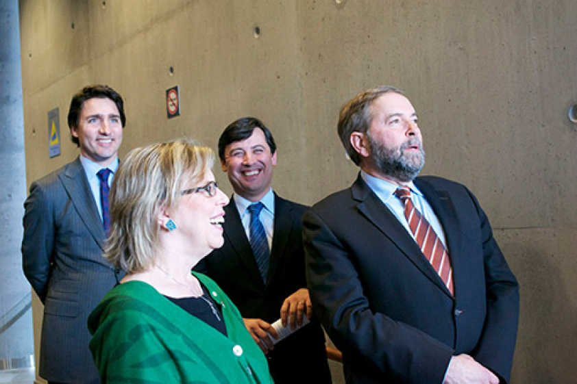 Liberal Party Leader Justin Trudeau, Conservative MP Michael Chong, Green Party Leader Elizabeth May, NDP Party Leader Tom Mulcair