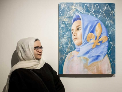"""Zahraa Sbaiti's self-portrait """"My Crown"""" explores the intersection of Muslim and Quebecois identity."""