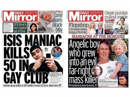 Comparison of the Daily Mirror's cover pages for the Orlando shooting versus the New Zealand Mosque shooting.