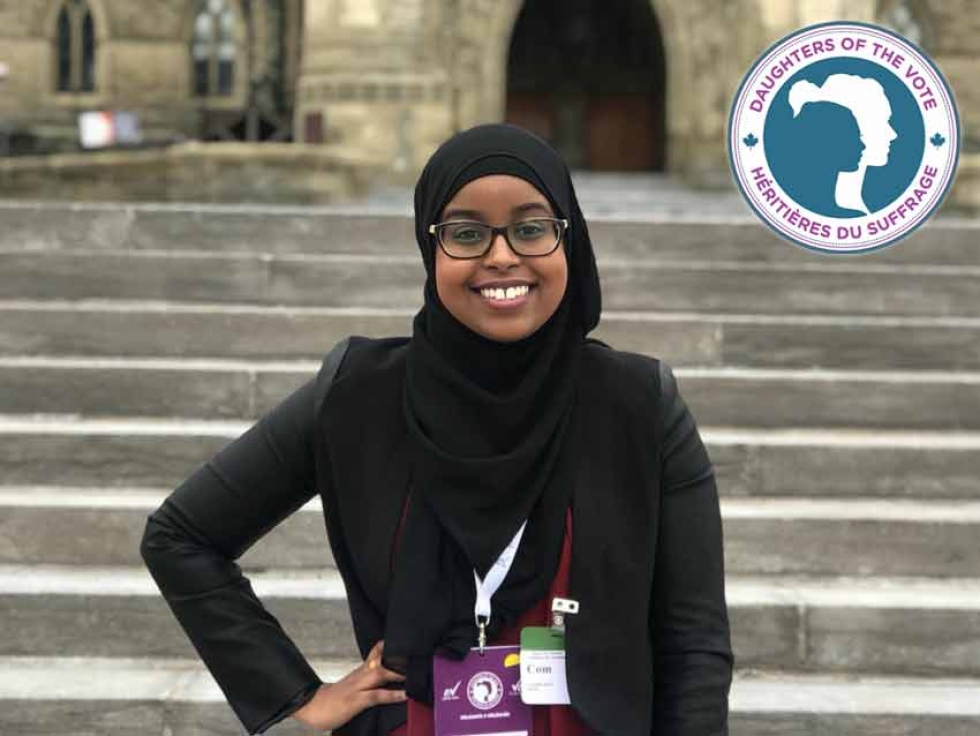 Somali Canadian Yasmin Dini represented the riding of Brampton-East, Ontario at Equal Voice's second Daughters of the Vote gathering in early April 2019.