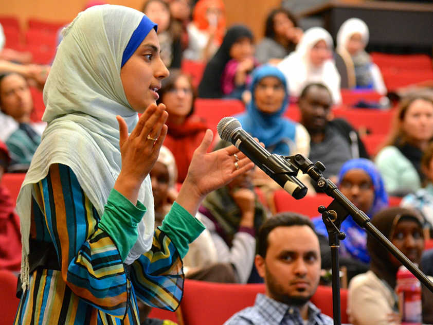 Audience members discuss the documentary UnMosqued