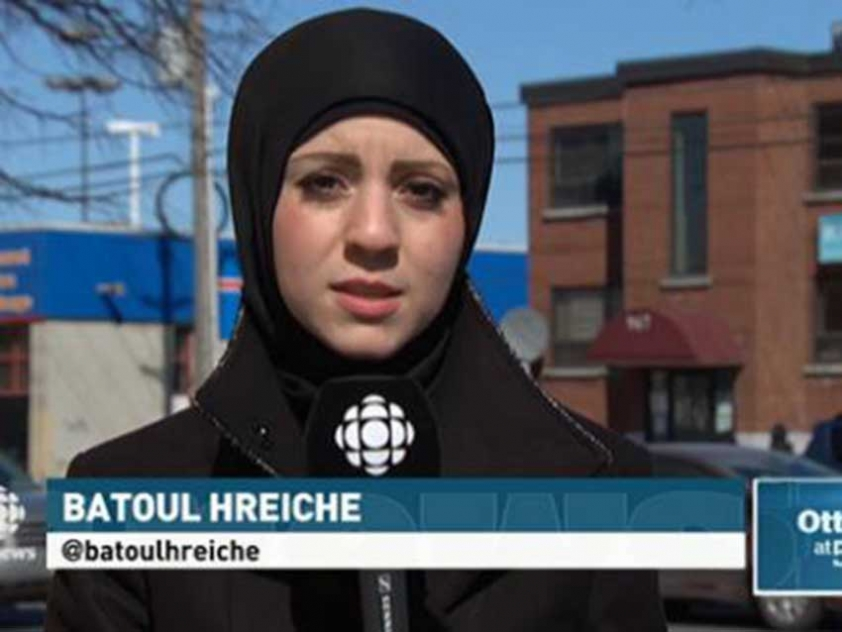 Batoul Hreiche reporting for CBC during her internship.