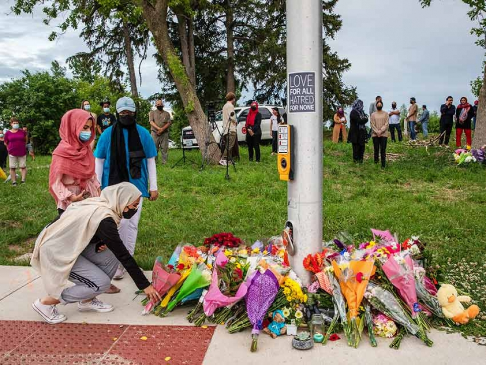 Mourners gather at the site of the attack on a Muslim family in London, Ontario. After tragedy, there is no one way to recover from trauma.