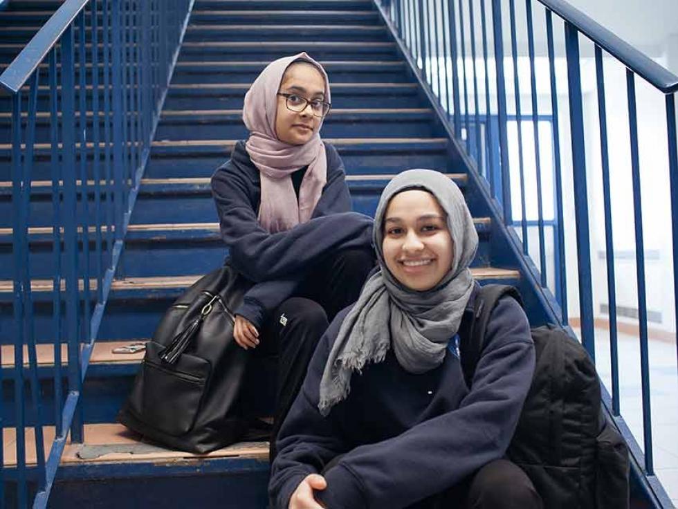 Sahar (left) and Safia at school.