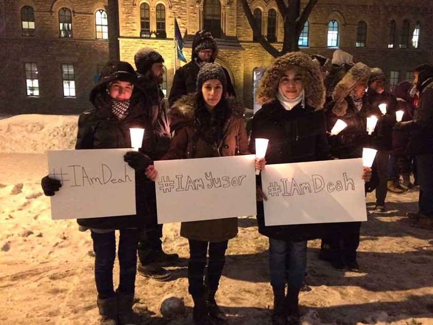 Hiba Rachid, Ruba Adas, and Marwa Halak at the February 11th vigil for the victims of the Chapel Hill Shooting.