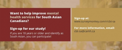 Participate in the Culturally Adapted Cognitive Behavioural Therapy for Canadians of South Asian Origin Project