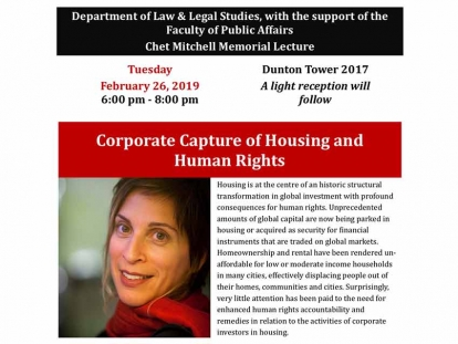 UN Special Rapporteur on the Right to Adequate Housing Leilani Farha Speaks at Carleton University Tuesday