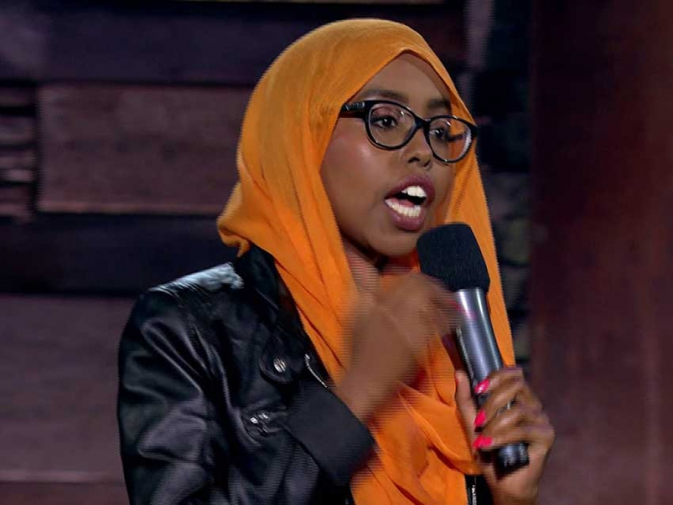 """Hoodo Hersi performing as part of """"Homegrown Comics"""" for The Comedy Network."""