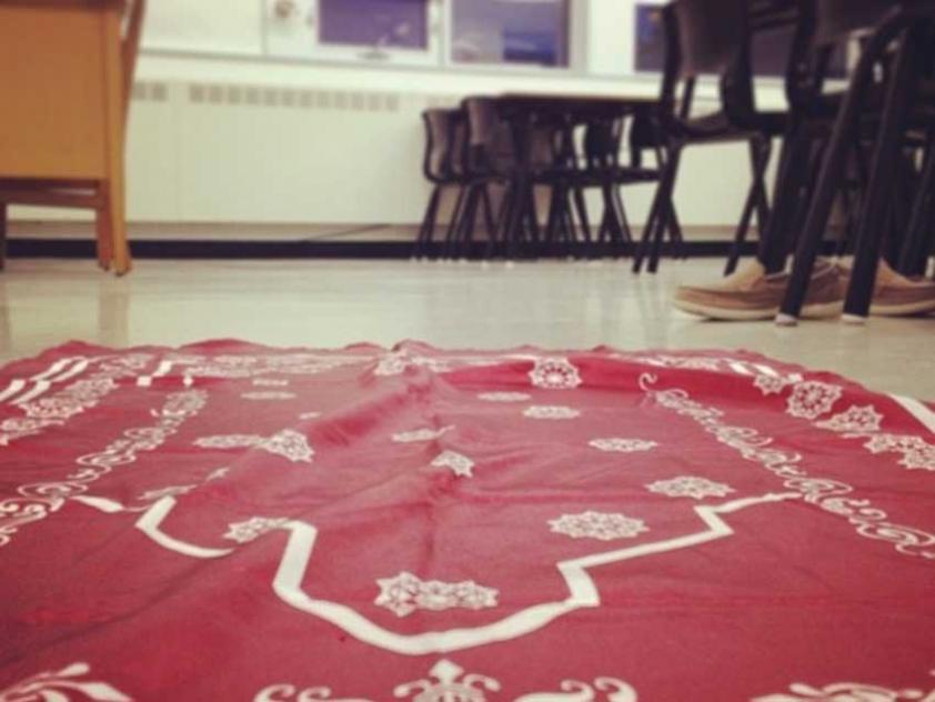 A prayer mat in a classroom