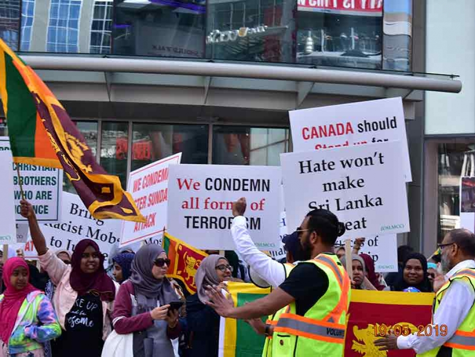 The Unified Sri Lankan Muslim Community Of Canada (USLMC Canada) organized a peaceful demonstration on Sunday, May 19 at Dundas Square in Toronto, Ontario.