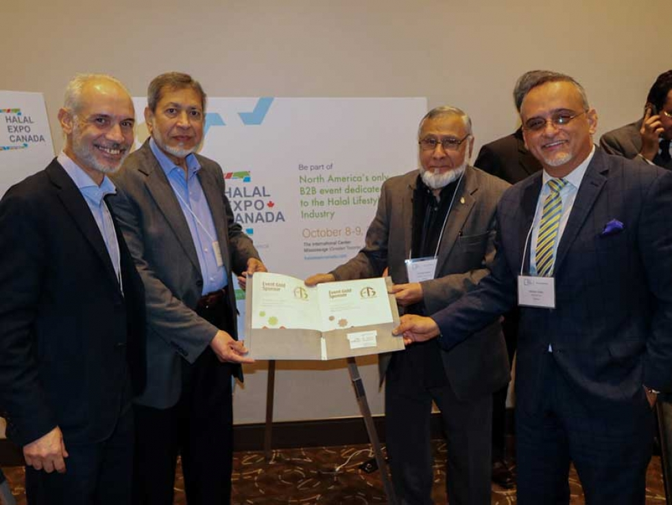(from left to right) Hossam Khedr (Advisor, Halal Expo Canada), Mohammed Jalaluddin (President, Ansar Financial Group), Pervez Nasim (Chairman, Ansar Financial Group), Nasser Deeb (Director, Halal Expo Canada) at Halal Expo Canada planning meeting in October 2018
