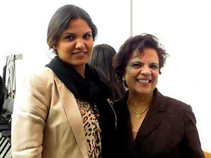 Ex-Afghan politician Sabrina Saqeb and Senator Mobina Jaffer at the screening of 25 Darsad at the University of Ottawa.