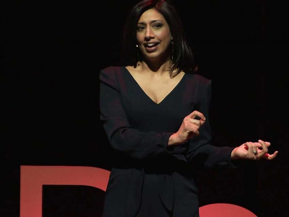 Farrah Nasser speaking at TEDxDonMills in Toronto, Ontario