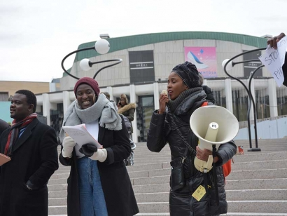 Somali Canadian Yasmine Mo speaks at a demonstration against the enslavement of African migrants in Libya on November 18 in Montreal.