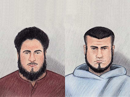 Carols and Ashton Larmond sketched while listening to the charges against them in an Ottawa court.