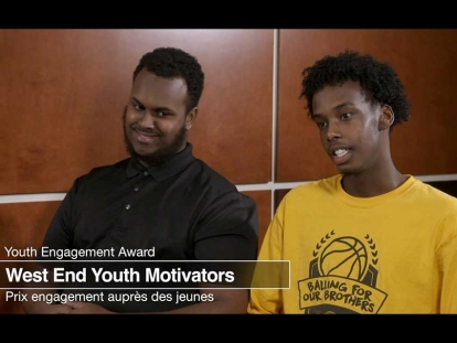 West End Youth Motivators youth mentors Abdullah Omer and Simeh Bour are interviewed by Crime Prevention Ottawa